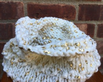 Knit Infinity Cowl/Neck Warmer - White/Gold