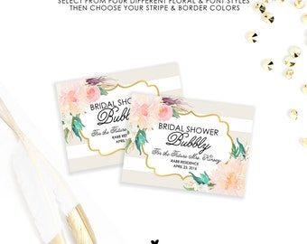 Custom Mini Champagne Bridal Shower Labels, Custom Labels for Baby Showers, Bachelorette Parties and Hen Parties - Weatherproof
