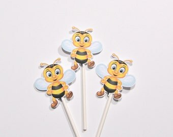 12 Bee Cake Toppers - Bee Baby Shower Decoration - Bee Baby Shower Cupcakes - Bee Bierthday Decoration - Bee Centerpiece