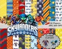 Skylanders Digital Paper Pack - 30 Papers - 53 Clipart - 12x12 or 8.5x11 - Printable Paper- Digital Scrapbooking - Instant Download -