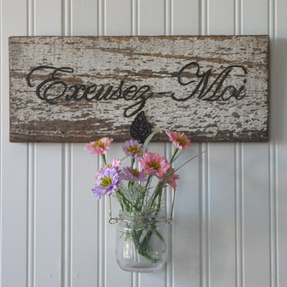 French Country Wall Decor Barnwood Decor Wall Vase French