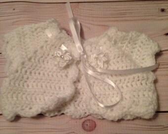 Crochet Christening Bolero -  Crochet Baby Bolero - Crochet Bolero -  Baptism Bolero - Baby Gift - Infant Clothes - Baby Shower Gift