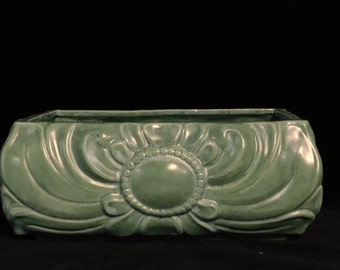 Green Art Deco planter-- probably California, marked with AG