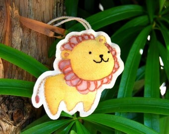 Embroidered Lion Plush Keychain