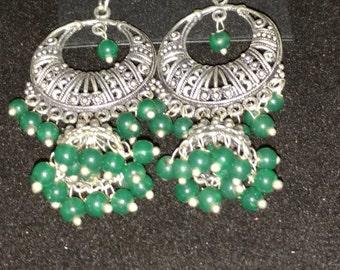 Green Onyx Tassel Earrings