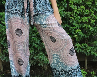 Women Palazzo Pants Boho Clothing Hippie Style Flower Design Two Tone