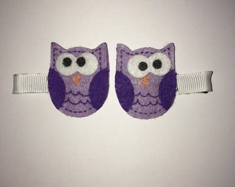 Purple owl hair clips