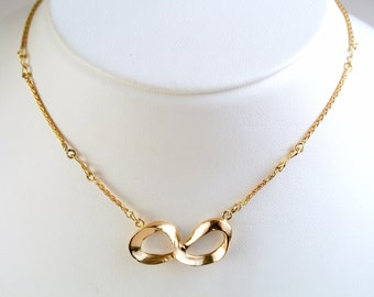 Gold Eternity Pendant - Gold Eternity Necklace - Gold Infinity Pendant - Mobius Necklace