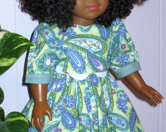 """18"""" ag light green paisley doll dress, short paisley doll dress with matching undies and hair bow, green and mauve paisley doll outfit"""
