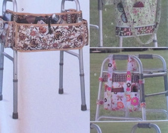 Simplicity pattern, walker accessories, for use with seniors walker, pockets, organizer, bags to attach to walker