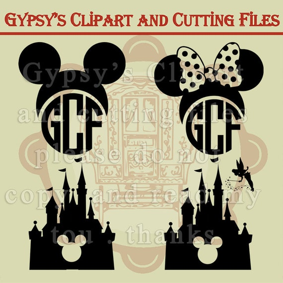 Mickey Mouse, Minnie Mouse, Mouse Ears, Disneyland Castle Monogram ...