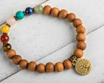 Chakra Bracelet, Sandalwood Bracelet, Mala Bracelet, Zen Bracelet, Energy Bracelet With Tree of Life Charm