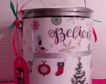 Christmas Gift Bag - Christmas Paint Can - Christmas Paint Bucket - Paint Can - Decorated Paint Can - Decorated Paint Bucket - Paint Bucket