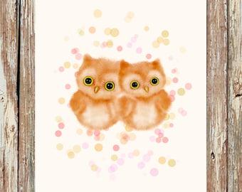 Owl nursery decor, children's art, girls room wall art, owl nursery, kids wall art, children's wall art, childrens art prints, whimsy art