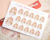 Happy Kawaii Girl Sweet Smile Decorative Stickers ~ Valerie ~ For your Life Planner, Diary, Journal, Scrapbook...