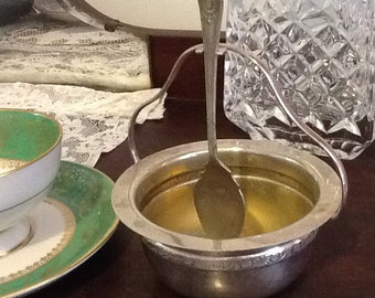 Vintage silver plate sugar bowl and spoon