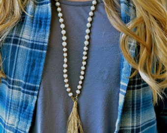 Layla // pearl tassel necklace