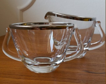 "Fostoria Crystal Sugar and Creamer in ""Engagement"" Platinum Trim - Silky Smooth, Classy, Modern"
