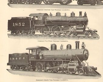 1904 Antique Trains Locomotives Print Double Sided Original Lithograph Book Plate