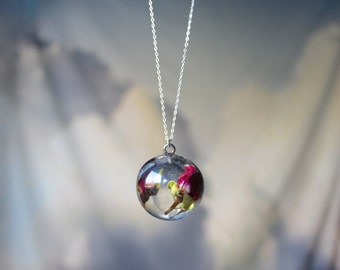 Real Rosebuds Resin Pendant Necklace