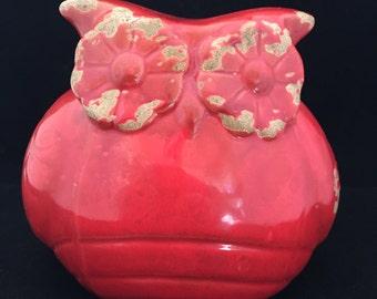 Red Ceramic Owl; Owl Decor; Vintage Ceramic Owl