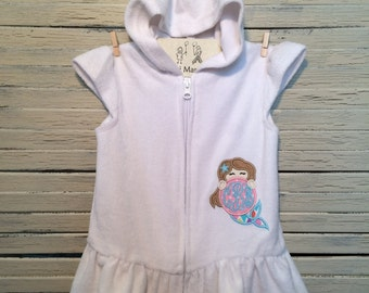 Terry Cloth Swimsuit Coverup, includes Mermaid Applique or Monogram
