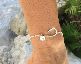 Personalized Fish Hook Bracelet, Fishing Hook Bracelet, Fishing Jewelry, Sideways Fish Hook, Christian Jewelry, Initial Bracelet