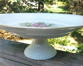 Cakeplate, Footed Plate, Wedding, Shabby Chic, Rose pattern, Dareuther, Waldsassen,China Plate, made in  germany