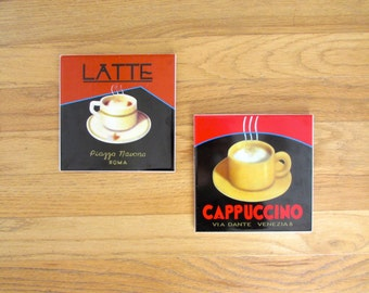 Retro Coffee Art Prints Wall Hanging - Set of 2 - Latte & Cappuccino