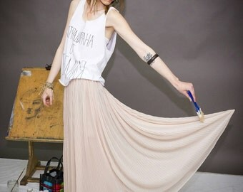 Pleated Maxi Skirt / Long Bohemian Skirt / Maxi Boho Skirt by FabraModaStudio