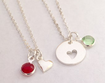 50 % off Mother and Daughter necklaces Heart necklaces with birthstones Free Gift Bag and birthstones are included
