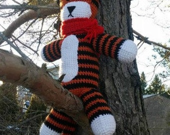 Crochet tiger inspired by Hobbes from calvin and hobbes