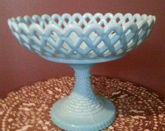 Challinor & Taylor Blue Milk Glass Compote - Circa 1885, Lace Patterned Lattice, w/ Pedestal