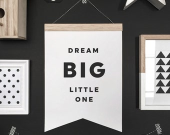 Dream big banner, hanging banner, wall hanging, wall banner, banner, wall, wall decor, nursery art, nursery decor, kid decor