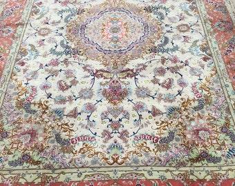 "6'7"" x 10'3"" Fine Persian Tabriz Oriental Rug - 500 KPSI - Wool and Silk"