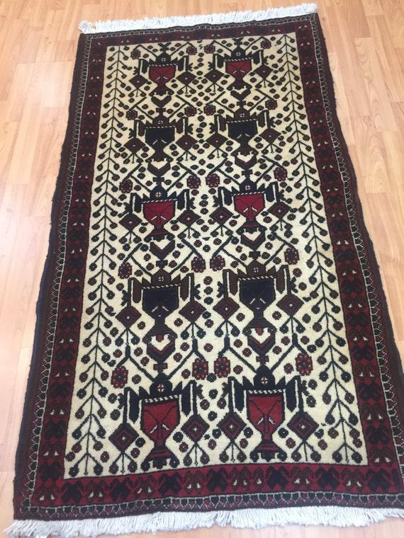"""2'7"""" x 5' Persian Sirjan Oriental Rug - Hand Made - 100% Wool - Vintage - 1980s"""