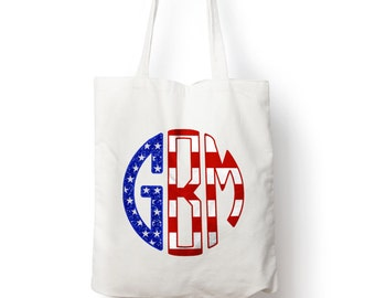 Sparkly Fourth of July Tote - Custom Monogram Tote