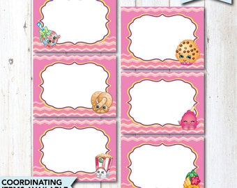 Shopkins Food Tent Cards