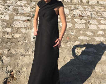 Plus Size Linen Dress, Maxi Dress, Oversize Dress, Black Linen Dress, Holiday Dress, Long Black Dress, Gothic Dress, Open Back Dress