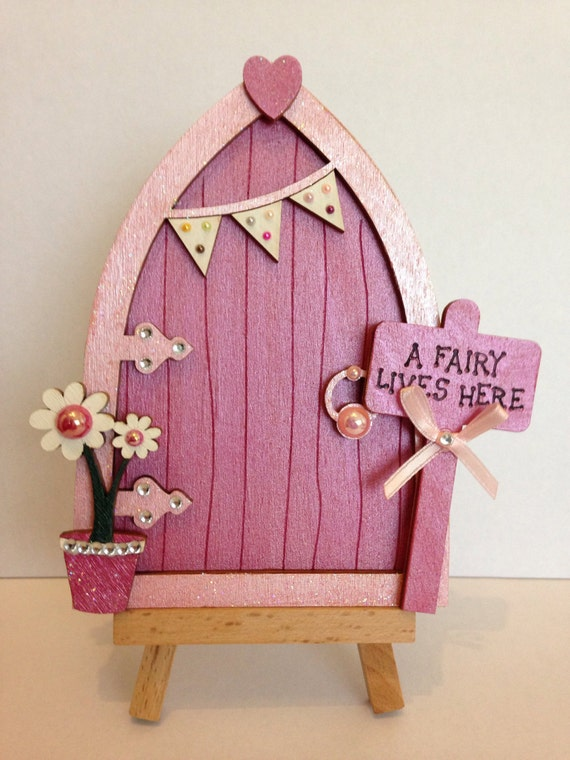 Magical hand painted pink fairy door for Painted fairy doors