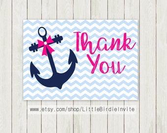 Baby Girl Nautical Baby Shower Thank You Card, Nautical Thank You Card, Printable Thank You Card, Flat Thank You Card, Folded Thank You Card