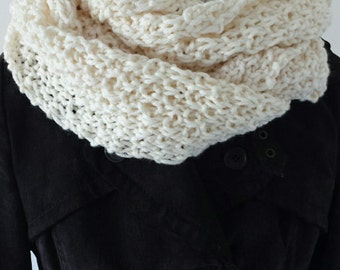 Knitted infinity scarf in barley stitch, Soft Wide Cowl, Women's Winter Infinity Scarf, Oversize Infinity, Wool Scarf