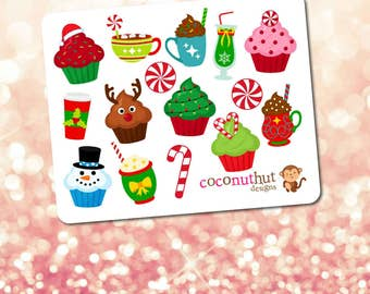 Christmas / Holiday Cupcakes & Candy Mini Planner Sticker Sheet