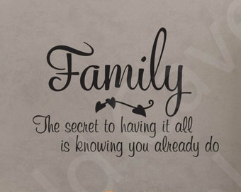 Family Secret To Having It All Home Vinyl Wall Decal Quote Art