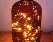 Large Demijohn Brown Glass Light Bottle Lamp