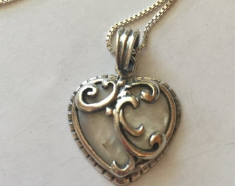 Vintage Sterling Silver Mother of Pearl Heart Pendant Necklace