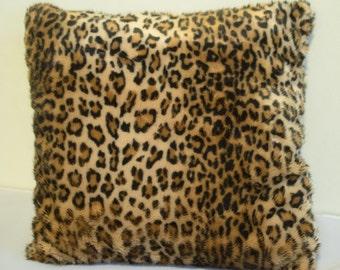 Faux Fur Leopard Print Pillow - Available 10x10, 15x15, 20x20, 25x25, 30x30