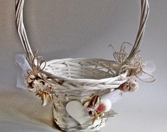 Beach Flower Girl Basket. Wedding Girl Flower Basket. Starfish Flower Girl Basket. Rustic Flower Basket. Beach Wedding. My Wedding