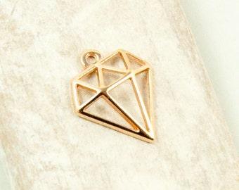 2 x diamond pendant rose gold plated #3604