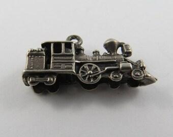 Coal Locomotive Train Engine Sterling Silver Charm of Pendant.